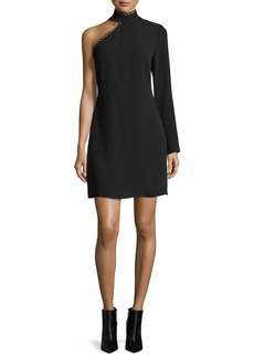 Shoshanna Thayer Asymmetric Long-Sleeve Mini Dress