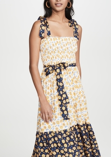 Shoshanna Tie Strap Midi Dress