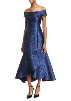 Shoshanna Trinity Metallic Jacquard Asymmetric Gown