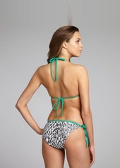 Shoshanna turquoise and black printed string side tie bottom