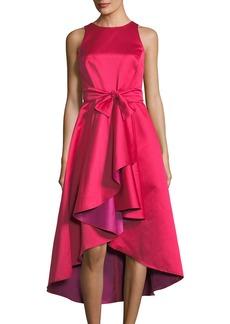 Two-Tone Taffeta Ruffle Midi Dress