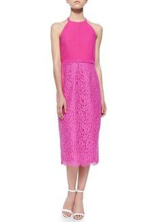 Shoshanna Uma Lace-Skirt Halter Dress
