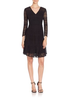 Shoshanna V-Neck Cotton Lace Dress