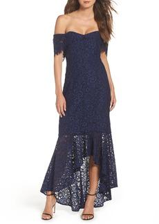 Shoshanna Vanowen Lace Off the Shoulder Gown