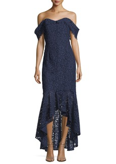 Shoshanna Vanowen Lace Off-the-Shoulder High-Low Evening Gown