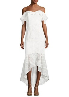 Shoshanna Vanowen Off-the-Shoulder Lace Dress