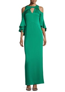 Shoshanna Varennes Cold-Shoulder Satin Gown