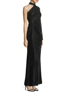 Velvet One-Shoulder Choker Gown