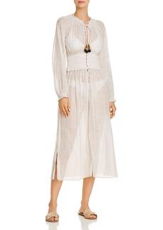 Shoshanna Veranda Breeze Smocked Dress Swim Cover-Up