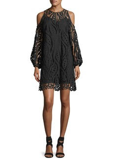 Shoshanna Veretta Cold-Shoulder Lace Guipure Cocktail Dress