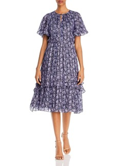 Shoshanna Willow Paisley Lurex Midi Dress