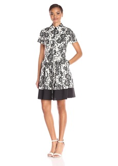 Shoshanna Women's Black and White Floral Print Campbell Dress