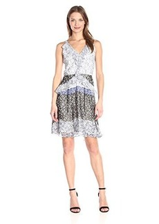 Shoshanna Women's Blue Floral Border Print Daphne Dress