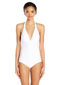 Shoshanna Women's Cable Halter One Piece Swimsuit