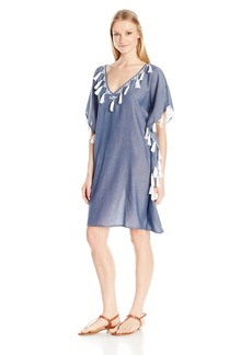 Shoshanna Women's Chambray Geo Embroidery V-Neck Caftan Cover up  L
