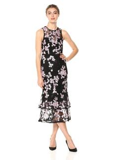 Shoshanna Women's Dominick Embroidered Mesh Sleeveless Sheath Dress