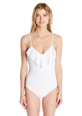 Shoshanna Women's Eyelet Lace Ruffle Maillot One Piece Swimsuit