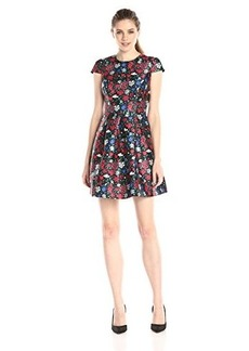 Shoshanna Women's Festive Floral Print Paris Short Sleeve Dress