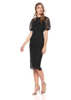 Shoshanna Women's Freyja Balloon Sleeve Sheath Dress with All Over Lace