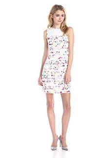 Shoshanna Women's Gerri Watercolor Floral Stripe Shift Dress Fuchsia/Multi