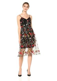 Shoshanna Women's Honoria Spaghetti Strap Fit and Flare Dress