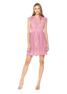 Shoshanna Women's Mori Cap-Sleeve A-Line Two-Tone Lace Dress