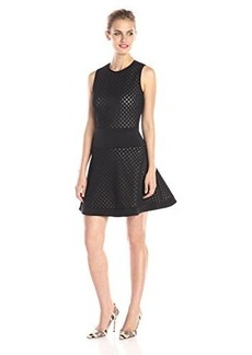 Shoshanna Women's Rio Laser Cut Scuba Fit and Flare Dress