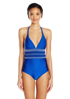 Shoshanna Women's Shimmer Solid Geo Smocking One Piece Swimsuit