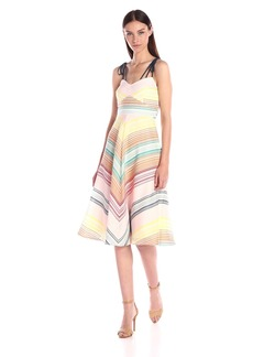 Shoshanna Women's Silk Stripe Organza Leia Midi Dress