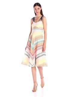 Shoshanna Women's Silk Stripe Organza Leia Midi Dress