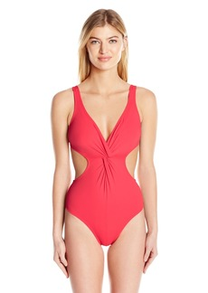 Shoshanna Women's Soft Solid Cutout Twist One Piece Swimsuit