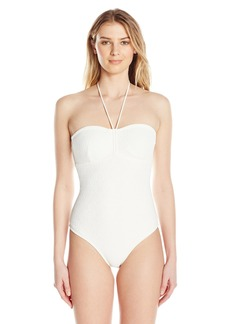 Shoshanna Women's Tropical Eyelet Cinched One Piece Swimsuit