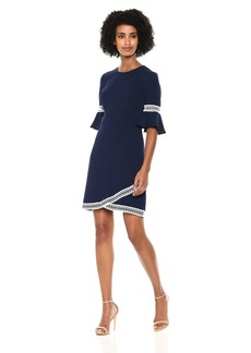 Shoshanna Women's Val Three Quarter Sleeve Dress with A-line Skirt