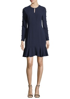 Shoshanna Wyvis Long-Sleeve Flounce-Hem Dress
