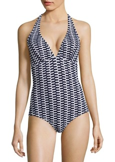 Shoshanna Zigzag Ring Halter One-Piece Swimsuit