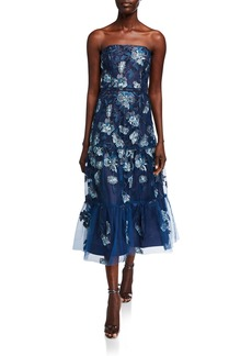 Shoshanna Silas Strapless Floral Mesh High-Low  Dress