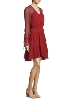 Shoshanna Silk Sheer Long-Sleeve Dress