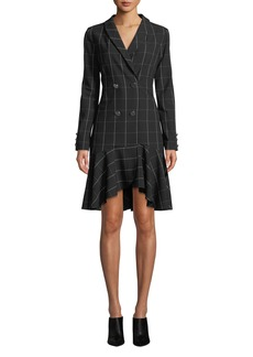 Shoshanna Sloan Long-Sleeve Double-Breasted Plaid Dress