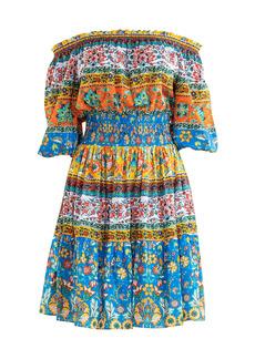 Shoshanna Solstice Patchwork Print Off-The-Shoulder A-Line Dress