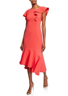 Shoshanna Sula Short-Sleeve Asymmetric Scuba Dress with Ruffle Details