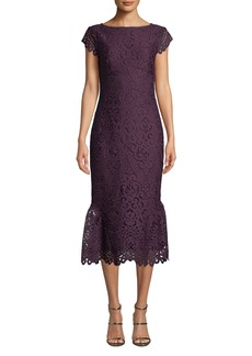 Shoshanna Swen Lace Flounce-Hem Dress