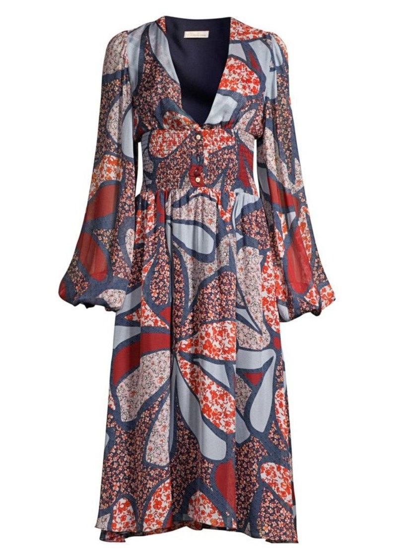 Shoshanna Tahoe Floral Bishop-Sleeve Dress