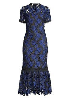 Shoshanna Talisa Short-Sleeve Embroidery Flounce Dress