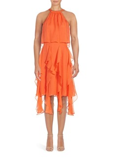 Shoshanna Tessa Ruffled Silk Halter Dress
