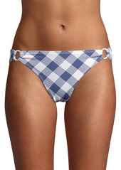 Shoshanna Textured Check Side-Ring Bikini Bottoms