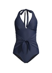 Shoshanna Tie-Front Halter One-Piece Swimsuit