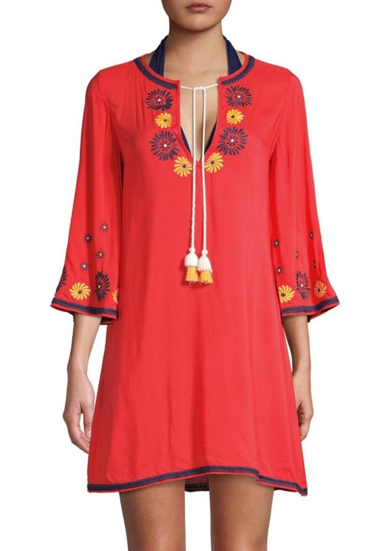 Shoshanna Tie-Neck Embroidered Tunic