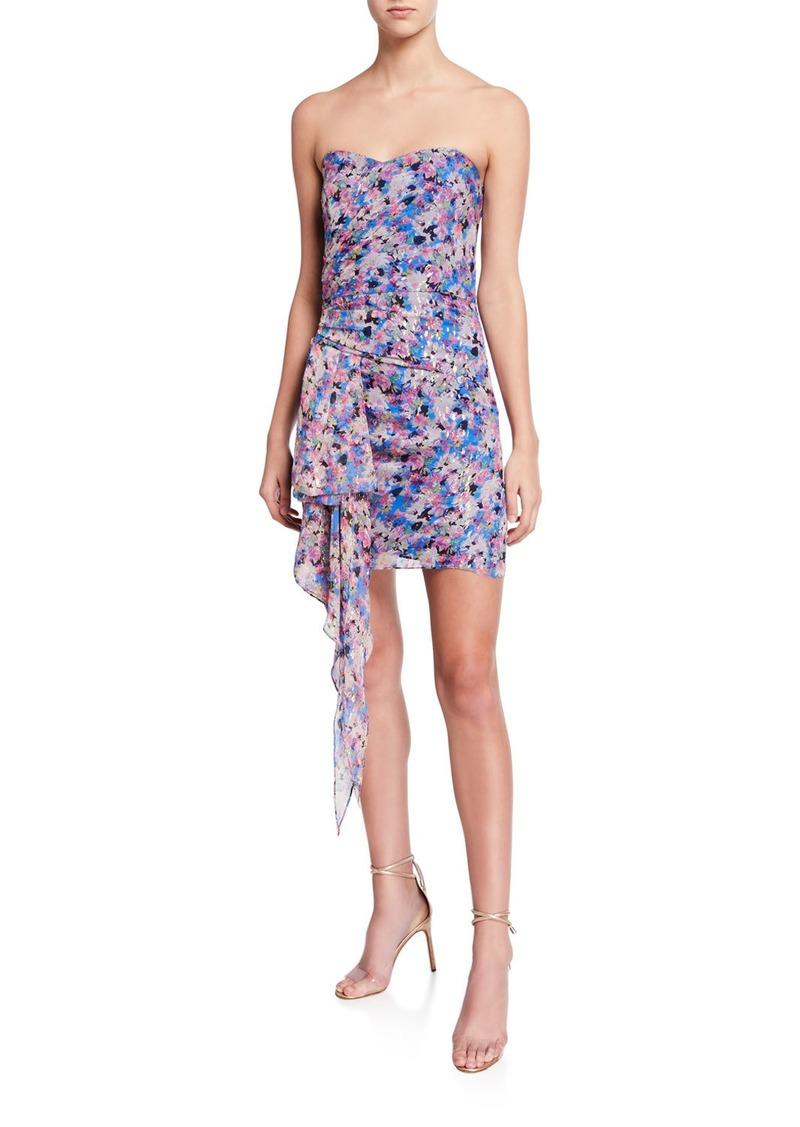 Shoshanna Tissa Metallic Floral Bustier Side-Drape Mini Dress