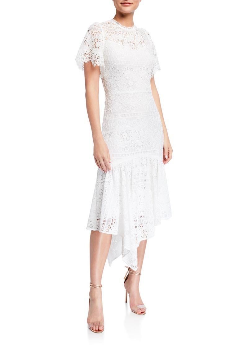 Shoshanna Trinette Mosaic Lace Handkerchief Midi Dress