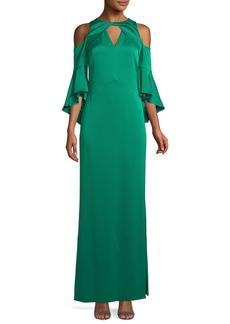 Shoshanna Varennes Cold-Shoulder Satin Gown